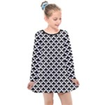 Black and white Triangles pattern, geometric Kids  Long Sleeve Dress