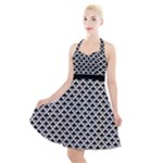 Black and white Triangles pattern, geometric Halter Party Swing Dress