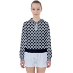 Black and white Triangles pattern, geometric Women s Tie Up Sweat