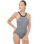 Black and white Triangles pattern, geometric High Neck One Piece Swimsuit