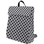Black and white Triangles pattern, geometric Flap Top Backpack