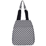 Black and white Triangles pattern, geometric Center Zip Backpack
