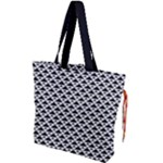 Black and white Triangles pattern, geometric Drawstring Tote Bag