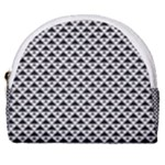 Black and white Triangles pattern, geometric Horseshoe Style Canvas Pouch
