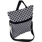 Black and white Triangles pattern, geometric Fold Over Handle Tote Bag