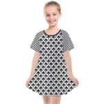 Black and white Triangles pattern, geometric Kids  Smock Dress