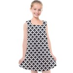 Black and white Triangles pattern, geometric Kids  Cross Back Dress