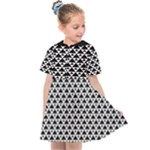 Black and white Triangles pattern, geometric Kids  Sailor Dress