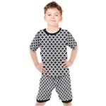 Black and white Triangles pattern, geometric Kids  Tee and Shorts Set