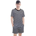 Black and white Triangles pattern, geometric Men s Mesh Tee and Shorts Set