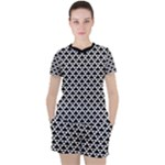 Black and white Triangles pattern, geometric Women s Tee and Shorts Set