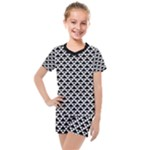 Black and white Triangles pattern, geometric Kids  Mesh Tee and Shorts Set