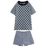 Black and white Triangles pattern, geometric Kids  Swim Tee and Shorts Set