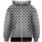 Black and white Triangles pattern, geometric Kids  Zipper Hoodie Without Drawstring