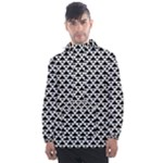 Black and white Triangles pattern, geometric Men s Front Pocket Pullover Windbreaker