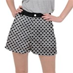 Black and white Triangles pattern, geometric Ripstop Shorts