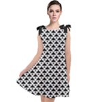 Black and white Triangles pattern, geometric Tie Up Tunic Dress