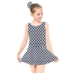 Black and white Triangles pattern, geometric Kids  Skater Dress Swimsuit