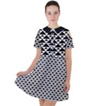Black and white Triangles pattern, geometric Short Sleeve Shoulder Cut Out Dress