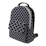 Black and white Triangles pattern, geometric Flap Pocket Backpack (Large)