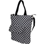 Black and white Triangles pattern, geometric Shoulder Tote Bag