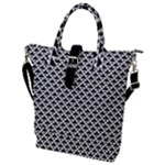 Black and white Triangles pattern, geometric Buckle Top Tote Bag
