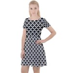Black and white Triangles pattern, geometric Cap Sleeve Velour Dress