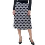 Black and white Triangles pattern, geometric Classic Velour Midi Skirt