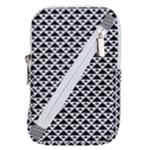 Black and white Triangles pattern, geometric Belt Pouch Bag (Small)