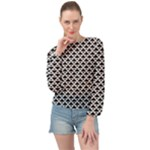 Black and white Triangles pattern, geometric Banded Bottom Chiffon Top