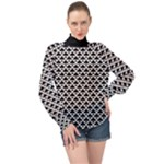 Black and white Triangles pattern, geometric High Neck Long Sleeve Chiffon Top