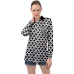Black and white Triangles pattern, geometric Long Sleeve Satin Shirt