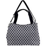 Black and white Triangles pattern, geometric Double Compartment Shoulder Bag