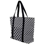 Black and white Triangles pattern, geometric Zip Up Canvas Bag