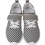 Black and white Triangles pattern, geometric Men s Velcro Strap Shoes