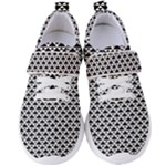 Black and white Triangles pattern, geometric Women s Velcro Strap Shoes