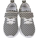 Black and white Triangles pattern, geometric Kids  Velcro Strap Shoes