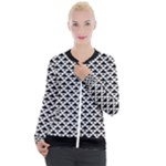 Black and white Triangles pattern, geometric Casual Zip Up Jacket
