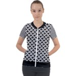 Black and white Triangles pattern, geometric Short Sleeve Zip Up Jacket