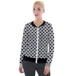 Black and white Triangles pattern, geometric Velvet Zip Up Jacket