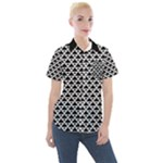 Black and white Triangles pattern, geometric Women s Short Sleeve Pocket Shirt