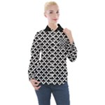 Black and white Triangles pattern, geometric Women s Long Sleeve Pocket Shirt
