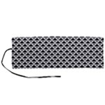 Black and white Triangles pattern, geometric Roll Up Canvas Pencil Holder (M)
