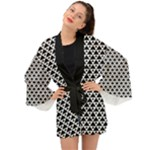 Black and white Triangles pattern, geometric Long Sleeve Kimono