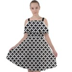 Black and white Triangles pattern, geometric Cut Out Shoulders Chiffon Dress