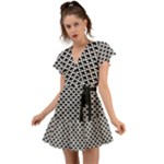 Black and white Triangles pattern, geometric Flutter Sleeve Wrap Dress