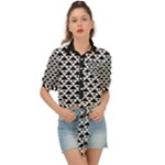 Black and white Triangles pattern, geometric Tie Front Shirt