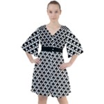 Black and white Triangles pattern, geometric Boho Button Up Dress