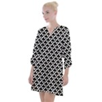 Black and white Triangles pattern, geometric Open Neck Shift Dress