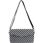 Black and white Triangles pattern, geometric Removable Strap Clutch Bag